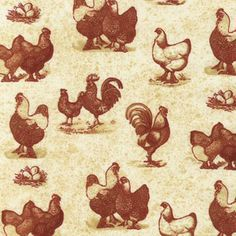 chicken fabric for sale | ... about 100% cotton quilting fabric, Chickens & Roosters, Sepia tint