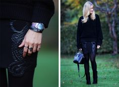 Christina from Passionsforfashion.dk with oxidized sterling silver rings
