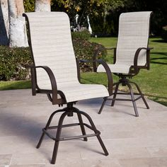 Have to have it. Coral Coast Del Rey Padded Sling Swivel Balcony Bar Stool - Set of 2 - $399.99 @hayneedle.com