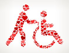 Disabled Service Red Hearts Love Pattern vector art illustration