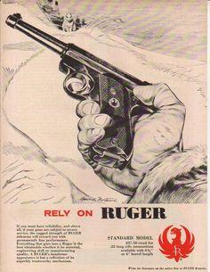1958 Ruger Standard Pistol Rabbit Hunting Art Vintage 50s Gun Ad | eBay