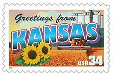 The Kansas State Postage Stamp  Depicted above is the Kansas state 34 cent stamp from the Greetings From America commemorative stamp series. The United States Postal Service released this stamp on April 4, 2002. The retro design of this stamp resembles the large letter postcards that were popular with tourists in the 1930's and 1940's.