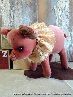 Vintage Velvet Pig, Petunia: vintage style, soft sculpture, hand painted, fabric art doll animal (Pig, piglet) by Pennybright Studios