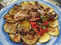 Char-grilled vegetables with nuts dressing. La Alacena del Castillo, Puebla de Alcocer (Extremadura, Spain) http://www.piggytraveller.com/blog/2015/10/27/restaurant-la-alacena-del-castillo-puebla-de-alcocer/