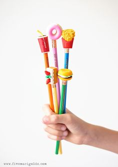 Easy, inexpensive DIY for Back to School Supplies. Make these custom pencils and eraser toppers in minutes! Holiday Crafts For Kids, Craft Projects For Kids, Fun Crafts, Arts And Crafts, Diy Projects, Christmas Crafts, Craft Ideas, Pencil Topper Crafts, Pencil Toppers