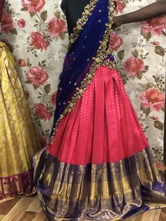 Half Saree Lehenga, Lehenga Saree Design, Lehnga Dress, Lehenga Designs, Banarasi Lehenga, Lehenga Skirt, Lehenga Blouse, Ikkat Saree, Mehndi Designs