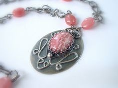 Rhodochrosite and Sterling Necklace by ajjewelrydesigns on Etsy, $165.00