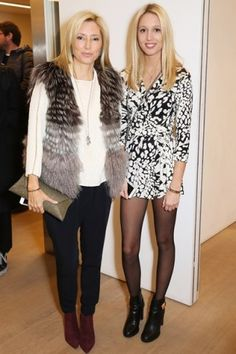 Noblesse et Royautés: Crown Princess Pavlos (Marie-Chantal) and daughter Princess Olympia of Greece visited the Mayfair salon of Diana von Fürstenberg in London, November 7, 2014