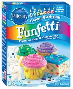 Funfetti® Cake Mix with Candy Bits - Pillsbury Baking Cupcake Mix, Cupcakes, Gooey Butter Cake, Confectioners Glaze, White Cake Mixes, Funfetti Cake, Baking Supplies, Pillsbury, Savoury Cake