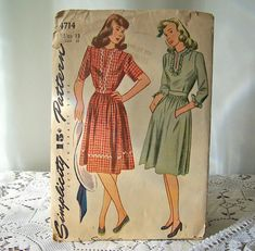 Vintage Ladies Dress Pattern 1940s Simplicity by CynthiasAttic