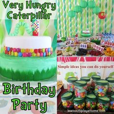very hungry caterpillar birthday, free printables: food lables, colouring sheet, decorations etc