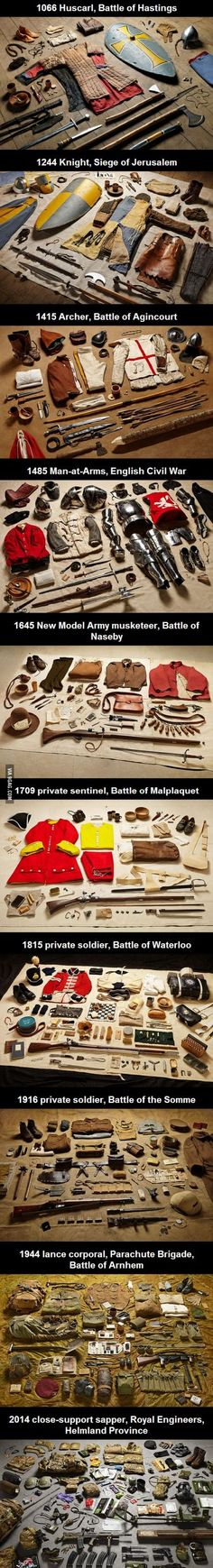 A soldier's gear throughout the ages