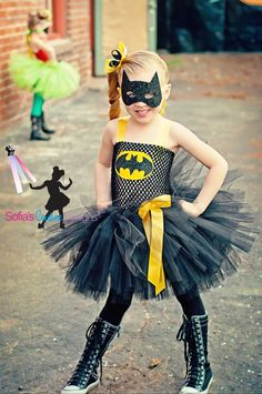 love how these are girly and badass at the same time - Batman girls superhero tutu dress and costume. via Etsy.