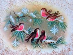 Vintage Christmas Card 1960s Our Melodious Quartet Glitter Snow Pretty Birds