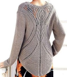 Knitted sweater with hemstitch pattern on back