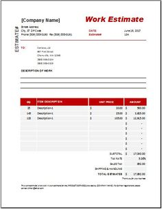 Preparing a work estimate template is a professional way to accomplish your tasks or goals according to already planned strategy. This document describes details about tracking an activity through a precise way. Printable Invoice, Invoice Format, Invoice Template, Quote Template, List Template, Templates, Writing A Business Plan, Business Planning, Quotation Format