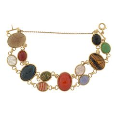 Vintage 14kt & Multi Stone Agate Scarab Link Bracelet
