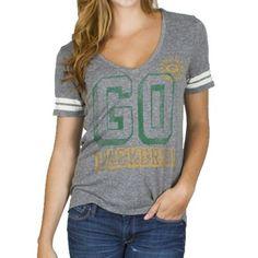 Junk Food Green Bay Packers Ladies Tailgate V-Neck Tri-Blend T-Shirt - Ash