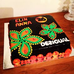 Desigual cake (birthday Cake) made for a big Desigual fan. Found this Desigual pattern online, it's on some of their t-shirts.