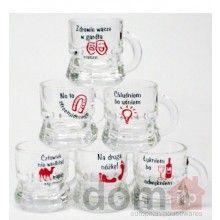 Humorous Polish Drinking Proverbs - Beer Mugs - Kieliszki do Wódki. Set of 6.25ml. Made in Poland.