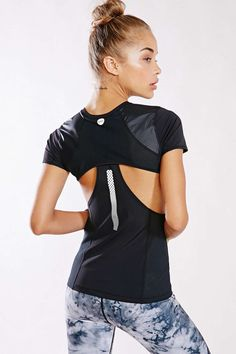 Black Without Walls Cutout Mesh Top Activewear @ Urban Outfitters $60