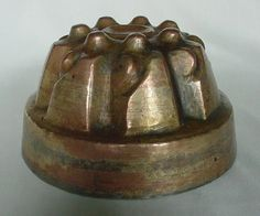 Antique Vintage Copper Metal Gelatin Pudding Mold Nice Patina Unusual Form