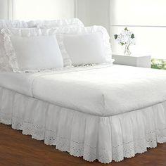 Ruffled Lauren Eyelet 18-inch Bedskirt | Overstock.com Shopping - The Best Deals on Bedskirts