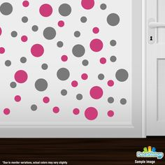 Hot Pink / Grey Polka Dot Circles Wall Decals #decals #stickers #decalvenue