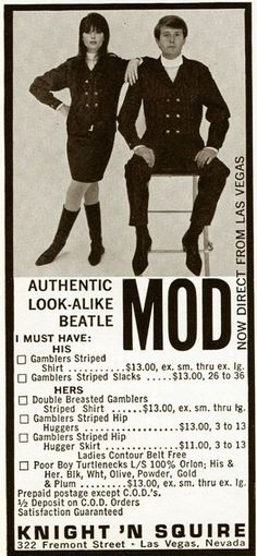 """Authentic Look-Alike Beatle Mod"" ~ Knight 'N Squire, Las Vegas 1960s clothing shop advert"
