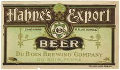 Hahne's Export Beer Label