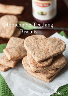 Homemade Teething Biscuits- These are the ones I make for Jacob...just add a little apples and pears, too.