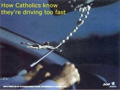 Ha! I remember my Catholic babysitter having a rosary dangling in her car like this, when I was a kid.