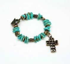 Handmade Turquoise Charm Bracelet with Old World by SilontiJewelry, $98.50