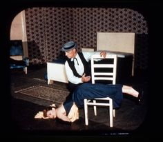 This is a shot from an viewmaster reel of Buster and his wife Eleanor doing the putting wife to bed routine from Spite Marriage. This was taken in Italy but Buster probably did this at the Medrano as well. I have heard that he did the Dueling bit from Passionate Plumber at the Medrano as well.