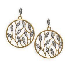 Leaf Design Gold Plated Brass and CZ Drop Earrings