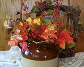 Primitive Antique Country Stoneware Two Handled Crock Bean Pot w/Beautiful Bunch of Autumn Flowers