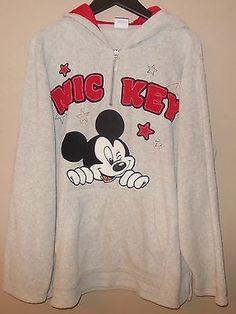 Wonderful World of Disney Mickey Mouse Gray Fleece 1/4 Zip Sweatshirt Hoodie