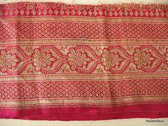 Vintage Silk Sari Brocade / Zari Border Trim in Magenta and Gold