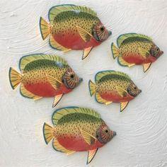 5pc Resin Royal Gamma Tropical Fish Set 1 Tropical Wall Decor, Fish Wall Decor, Fish Wall Art, Fish Art, Coastal Decor, Metal Fish, Ocean Colors, Metal Hangers, Painted Metal