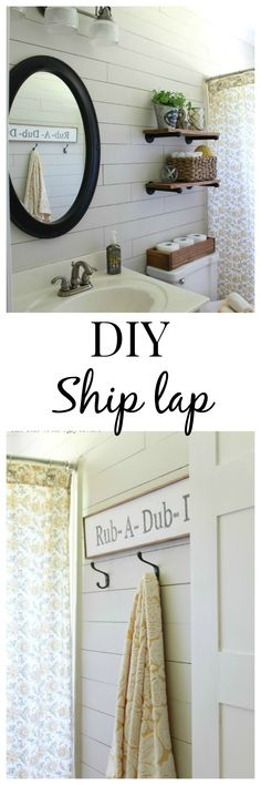 Create a farmhouse style bath by installing ship lap. Also love the Industrial shelving with plants + floral shower curtain Guest Bathroom Remodel, Bath Remodel, Downstairs Bathroom, Farmhouse Style, Farmhouse Decor, Do It Yourself Design, Ideas Prácticas, Home Reno, Interior Exterior