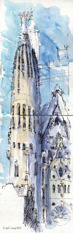 GLWSKETCHWORKS: First Sketch Crawl with the Urban Sketchers in Barcelona. Sagrada Familia, by Gail Wong