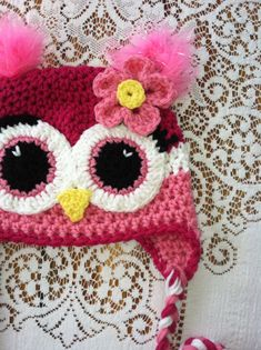 Crochet Owl & Flower Earflap Beanie Hat (Pink, Pink & White) w/ Eyelashes & Feather Ears - Etsy $27.00