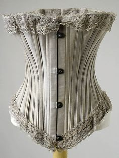 Corset Date: 1895–1905 Culture: probably American Medium: (a) cotton; (b) lace Dimensions: Length at CB: 11 in. (27.9 cm)