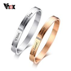 cec75cc6552 Buy Vnox Personalized Engraving Name Info Couple Bracelets for Women Men Cuff  Bangles AAA CZ Stones Stainless Steel Lovers Jewelry