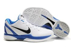 9b141136e640 Air Foamposite Nike Zoom Kobe 6 White Blue  Nike Zoom Kobe 6 - The shoe  appears to have a white base with light grey snakeskin scales and blue trim  on the ...