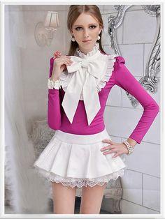 Morpheus Boutique  - Hot Pink High Collar Long Sleeve Bow Ruffle Shirt