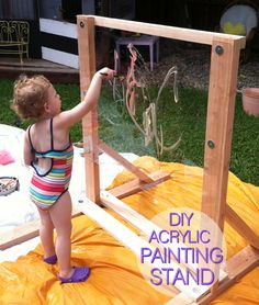 DIY Reggio Style Acrylic Painting Stand maybe make one to fit in the water table at work? Natural Playground, Outdoor Playground, Playground Ideas, Outdoor Play Spaces, Outdoor Fun, Reggio Emilia, Patio Chico, Backyard For Kids, Outdoor Play For Toddlers