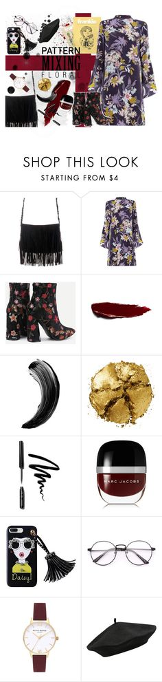 """""""Pattern mixing (floral)"""" by lgbarrier ❤ liked on Polyvore featuring Warehouse, Pat McGrath, Bobbi Brown Cosmetics, Marc Jacobs, Olivia Burton and M&Co"""