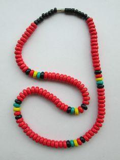 1 Halskette aus Brasilien Länge ca. 44 cm Ohr Hippie Goa Schmuck nr.6 Reggae rot