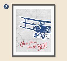Transportation Wall Art Airplane Decor Oh by StrawberryJamStudio